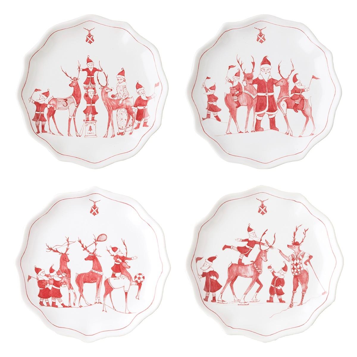 Juliska - Country Estates Reindeer Games Ruby Tidbit Plates