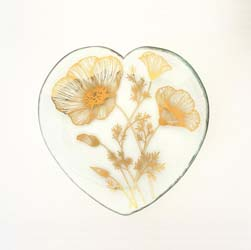 "Poppy 7"" Collectible 2020 Heart Plate by Annieglass"
