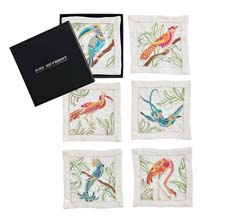 Birds of Paradise Cocktail Napkins in White & Multi, Set of 6 in a Gift Box by Kim Seybert
