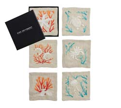 Cozumel Cocktail Napkins in Natural & Multi, Set of 6 in a Gift Box by Kim Seybert