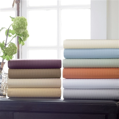 Savoia Stripe Sateen Sheeting Collection by Scandia Home