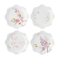 Berry & Thread Floral Sketch Assorted Dessert/Salad Plates Set/4 by Juliska