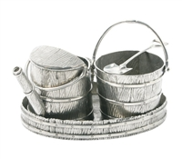 Pail and Bucket Pewter Creamer Set by Vagabond House