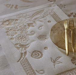 Haute Couture Swarovski Gold Table Linens by Le Jacquard Francais