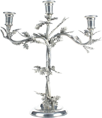 3 Socket Oak Leaf Candelabrum by Vagabond House