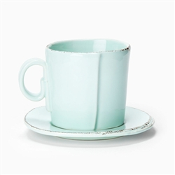 Lastra Aqua Espresso Cup and Saucer by VIETRI