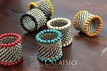 "Calaisio - Napkin Rings with Beads - 2"" x 2""H"