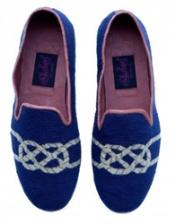 ByPaige - Knot on Navy Needlepoint Loafers for Men