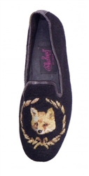 ByPaige - Fox on Black Needlepoint Loafers for Men