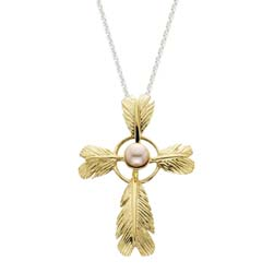 Feather Cross Large Pendant by Grainger McKoy