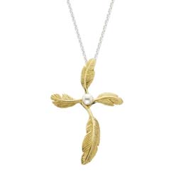 Feather Cross Small Pendant by Grainger McKoy