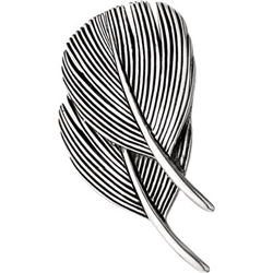 Double Dove Feather Pin Silver/Gold by Grainger McKoy