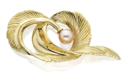 Feather Curl With Pearl Pin Silver/Gold by Grainger McKoy
