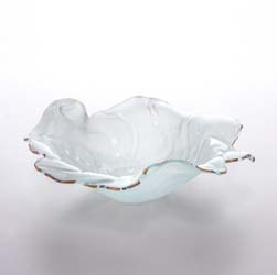 "Poppy 11.50"" Frosted with 24kt Gold Trim Medium Bowl by Annieglass"