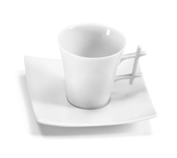 Oxygene Blanc Tea Cup and Saucer by Medard de Noblat