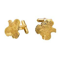 Quail Cufflinks in 14K and 18K Gold by Grainger McKoy