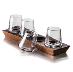 Ludlow Whiskey Glass Set with Wood Base by Simon Pearce