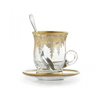 Arte Italica - Vetro Gold Cup & Saucer (with Spoon)