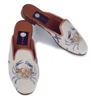ByPaige - Crab on Tan Needlepoint Mule