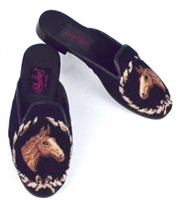 ByPaige - Horse Head on Black Needlepoint Mule
