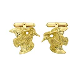 Wood Duck Cufflinks in 14K and 18K Gold by Grainger McKoy