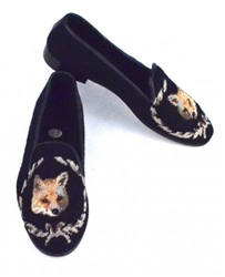 ByPaige - Fox on Black Needlepoint Women's Loafer