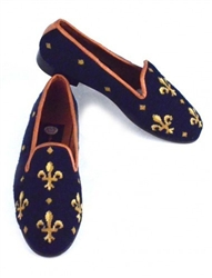 ByPaige - Fleur de Lis on Navy Needlepoint Women's Loafer