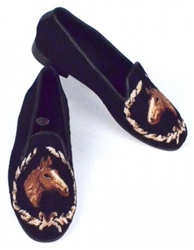 ByPaige - Horse Head on Black Needlepoint Women's Loafer