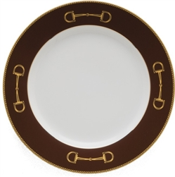 Cheval Chestnut Brown Dinner Plate by Julie Wear