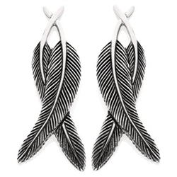 Crossover Feather Earrings in Sterling Silver by Grainger McKoy