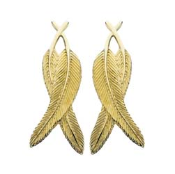 Crossover Feather Earrings in Gold by Grainger McKoy