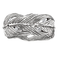 Wide Feather Ring for Women in Platinum Silver by Grainger McKoy