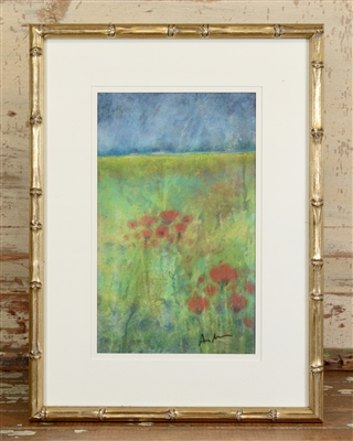 Field of Poppies Original Pastel by Amy Renzulli 12x6