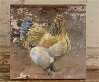 Original Oil Painting: Cochin Hen Oil Painting on Reclaimed Board