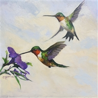 Original Oil Painting Hummingbirds
