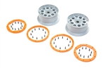 Losi Beadlock Wheels, Silver/Orange (2): DBXL-E 2.0
