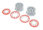 Losi Beadlock Wheels, Silver/Red (2): DBXL-E 2.0