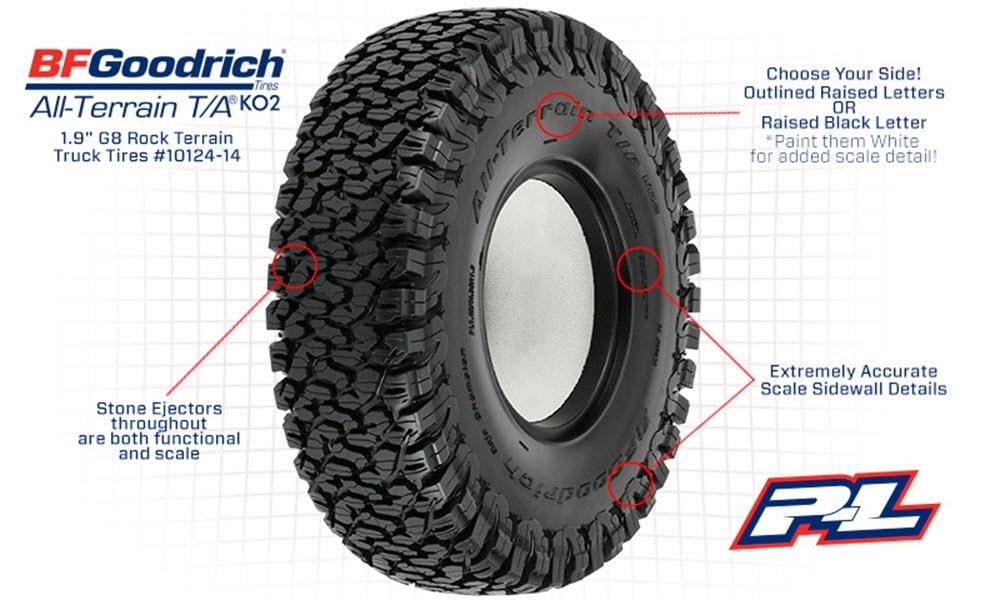 Bf Goodrich Truck Tires >> Pro1012414 Pro Line Bfgoodrich All Terrain Ko2 1 9 G8 Rock Terrain Truck Tires 2