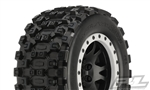 Pro-Line X-Maxx Badlands MX43 Pro-Loc Pre-Mounted All Terrain Tires (MX43) w/Impulse Pro-Loc Wheels (Black) (2)
