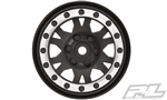 "PRO276913 Pro-Line Impulse 1.9"" Black/Silver Plastic Internal Bead-Loc Wheels for Rock Crawlers Front or Rear"