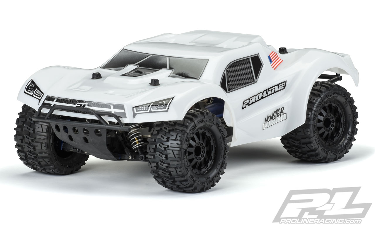 "Pro-Line Slash Monster Fusion Bash Armor Pre-Cut Monster Truck Body (White) (for use with 2.8"" MT Tires - Monster Slash!)"
