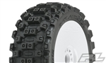 PRO906731 Pro-Line Badlands MX Pre-Mounted 1/8 Buggy Tires (White) (2) (M2) w/Velocity V2 Wheel
