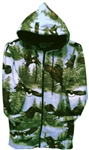 Hooded Fleece Jacket in Flying Eagles print
