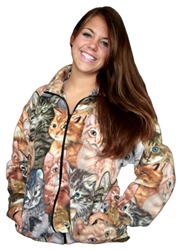 Cat Print  Fleece Jacket with Side Pockets and Front Zipper. Ladies Cut Sizes Small - 3X-Large.