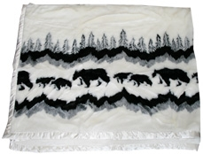 Bear Crossing Satin Lined 60 x 50 Fun Fur Blanket