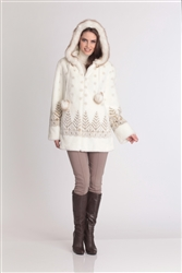 Hooded Trees Faux Fur Jacket