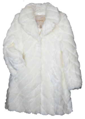 White Faux Fur Coat Toggle Front Closure Ladies Sizes