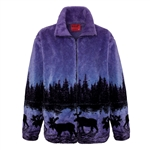 Twilight Moose Adult Fleece Jacket