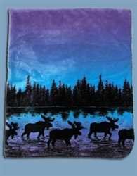 Twilight Moose Reversable 60x50 Fleece Blanket
