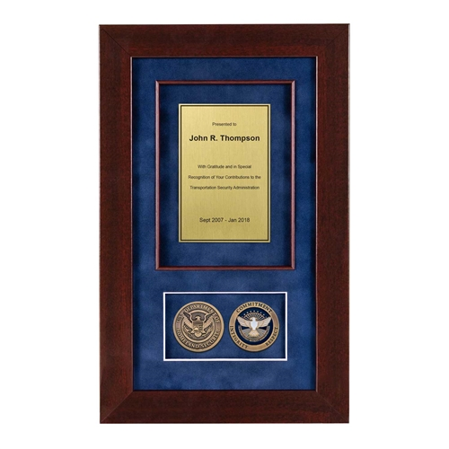 Recognition Shadow Box (Cherry) w/ Coins (TSA)